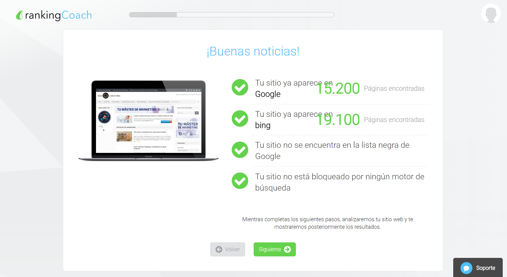Monitorizando Solomarketing con RankingCoach