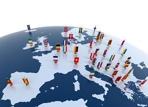 european countries – continent marked with flags